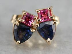 Pink And Blue Sapphire Stud Earrings