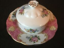 Royal Albert Lady Carlyle Covered Butter Dish Pink Gold Floral Rare