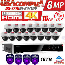 Hikvision 4k 16 Ch Security Camera System 16 Van/proof H.265+ Hdd Purple