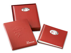 Photo Album Graduation Cm.25x30h In Eco Leather Red And Oval Silver 925 15439