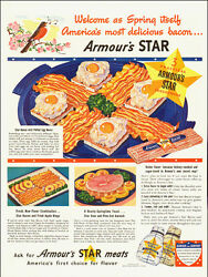 1941 Vintage Ad, Armour's Star Meats, Bacon, Ham, More, Yummy 051514