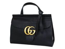 421890 Marmont Gg Shoulder Hand Tote Bag Black Leather Used