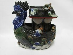 Sumida Gawa Cliffwalkers Antique Japanese Pottery Ceramic Rooster Boat Caddy