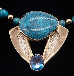 14K Gold Turquoise Sterling and Blue Topaz Large Modern Statement Necklace