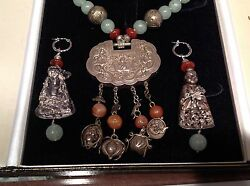 Antique Chinese Necklace/ Earrings Aventurine, Carnelian, Silver, Buddhas And Lock