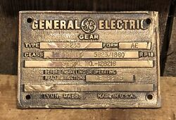 Old Vintage General Electric Ge Gear Industrial Equipment Brass Plaque Sign