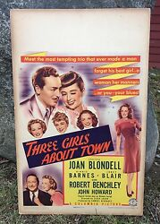Vintage 1941 Original Three Girls About Town Columbia Pictures Movie Poster