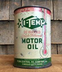 Vintage High Temp Motor Oil 1qt Tin Can Gas Service Station Thermometer Logo