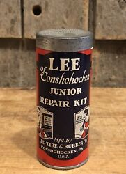 Vintage Lee Tire And Rubber Co. Junior Repair Kit Advertising Can Great Graphics