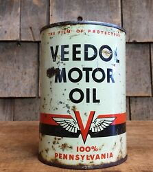 Vintage Veedol Tide Water Motor Oil Tin Can Gas Service Station Pennsylvania 1qt