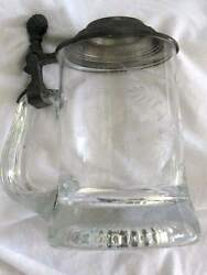 Pewter And Glass Beer Stein Vintage Hand Ground Collectible Antique Offers Welcome