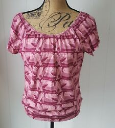 Lux Top Womens Large Red Striped Birds Open Cut Out Back Short Sleeves