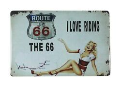I Love Riding Route 66 Pin Up Women Tin Metal Sign Antique Signs
