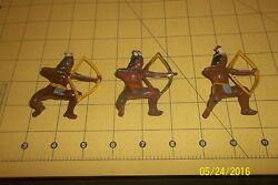 Vintage Barclay Lot Of 3 Indian Lead Soldiers