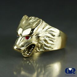 Menand039s Ruby 14k Solid Yellow Gold Wolf Pinky Ring