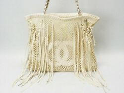 CHANEL Fabric Mesh Tote Bag Rare Design Fringe Ivory Never Used Ex++