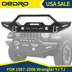 Oedro Front Bumper W/ Winch Plate And Led Spotlights For Jeep Wrangler Yj Tj 87-06