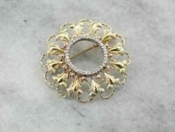 Vintage Gold And Diamond Brooch With Rose Gold Accents