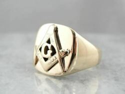 Vintage Weighty Masonic Ring In Yellow Gold