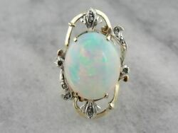 Vintage Retro Era Opal Cocktail Ring With Diamond Accents