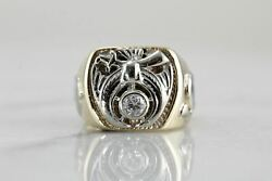 Vintage Men's Diamond Shriners Club Ring In Yellow And White Gold