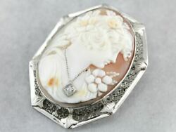 Art Deco Cameo Brooch Or Pendant With Woman Wearing A Diamond Necklace