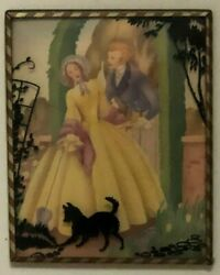 Vintage Framed Convex Glass Watercolor And Silhouette 1 Of 2