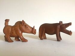Vintage Mid Century Hand Carved Teak Zambia African Hippo And Warthog Pair Of 2