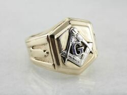 Menand039s Masonic Ring Crafted In Yellow And White Gold