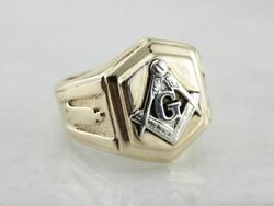 Men's Masonic Ring Crafted In Yellow And White Gold