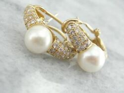Diamonds And Mabe Pearl Earrings In Fine Gold