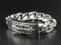 Chrome Hearts ID Floral Cross Bracelet Silver 925 16.5cm 6.49inch Used Ex++