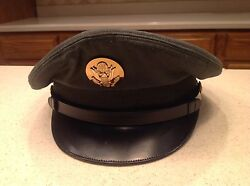 Military Hat Vintage Us Army Serviceman Green Wool W/ Visor Size 7 Circa 1950and039s