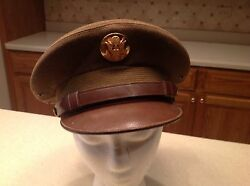 United States Military Hat Cap Army Wool W/ Brown Visor Very Clean