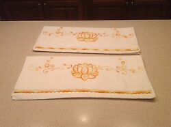 Vintage Pillowcases Set Of 2 Embroidered Golden Yellow Flowers Crochet Edges