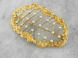 Seed Pearl Curved Brooch Pin Or Hairpiece From Victorian Era