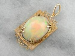 Collector's Quality Ethiopian Opal Pendant in Antique Rose Gold