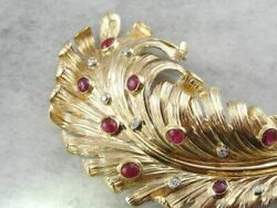 Mid-century Ruby And Diamond Feather Brooch, Designer Vintage Gold Brooch