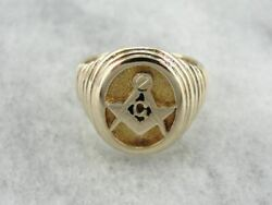 Men's Masonic Ring Crafted In 14k Yellow Gold, Unique Rippled Texture