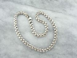Italian Heavy Polished White Gold Chain Elegant Statement Piece