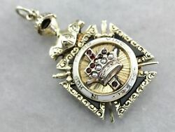 Ornate Antique Ruby And Seed Pearl Masonic Fob