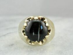 Vintage Statement Large Cat's Eye Sillimanite Ring With Unisex Style, Belcher