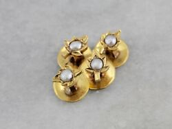 Set Of Four Antique Maple Leaf Shaped Shirt Studs With Pearl Center