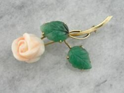 A Rose Of Angels Skin Vintage Coral And Aventurine Brooch In Gold