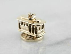 Trolley Car Charm With Spinning Base In Yellow Gold