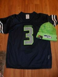 Youth Xl Jersey Shirt And Nwt Beanie Cap Hat Nfl Seattle Seahawks