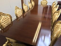 10.7ft Triple Ped Grand Regency Style Brazilian Mahogany Table French Polished