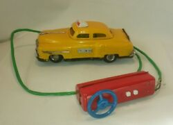 ☆ Vintage Rare Battery Operated Rc Pressed Steel Yellow Cab Taxi Line Mar Toys