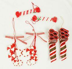 Red White Green Peppermint Candy Lot Of 6 Christmas Ornament Holiday Decoration