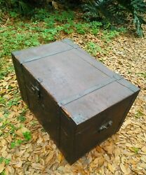 Antique Steamer Immigrant Trunk Early 1800and039s Hand Made Rare Blacksmiths 200 Year